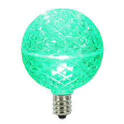 10 LED G50 Globe Green Faceted Retrofit C9 Socket Replacement Bulbs