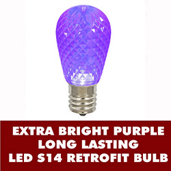 10 LED S14 Patio Faceted Purple Retrofit Replacement Bulbs