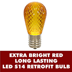 10 LED S14 Patio Faceted Gold Retrofit Replacement Bulbs