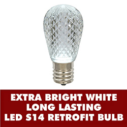 10 LED S14 Patio Faceted Pure White Retrofit Replacement Bulbs