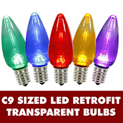 25 LED C9 Multi Color Transparent Retrofit Replacement Bulbs