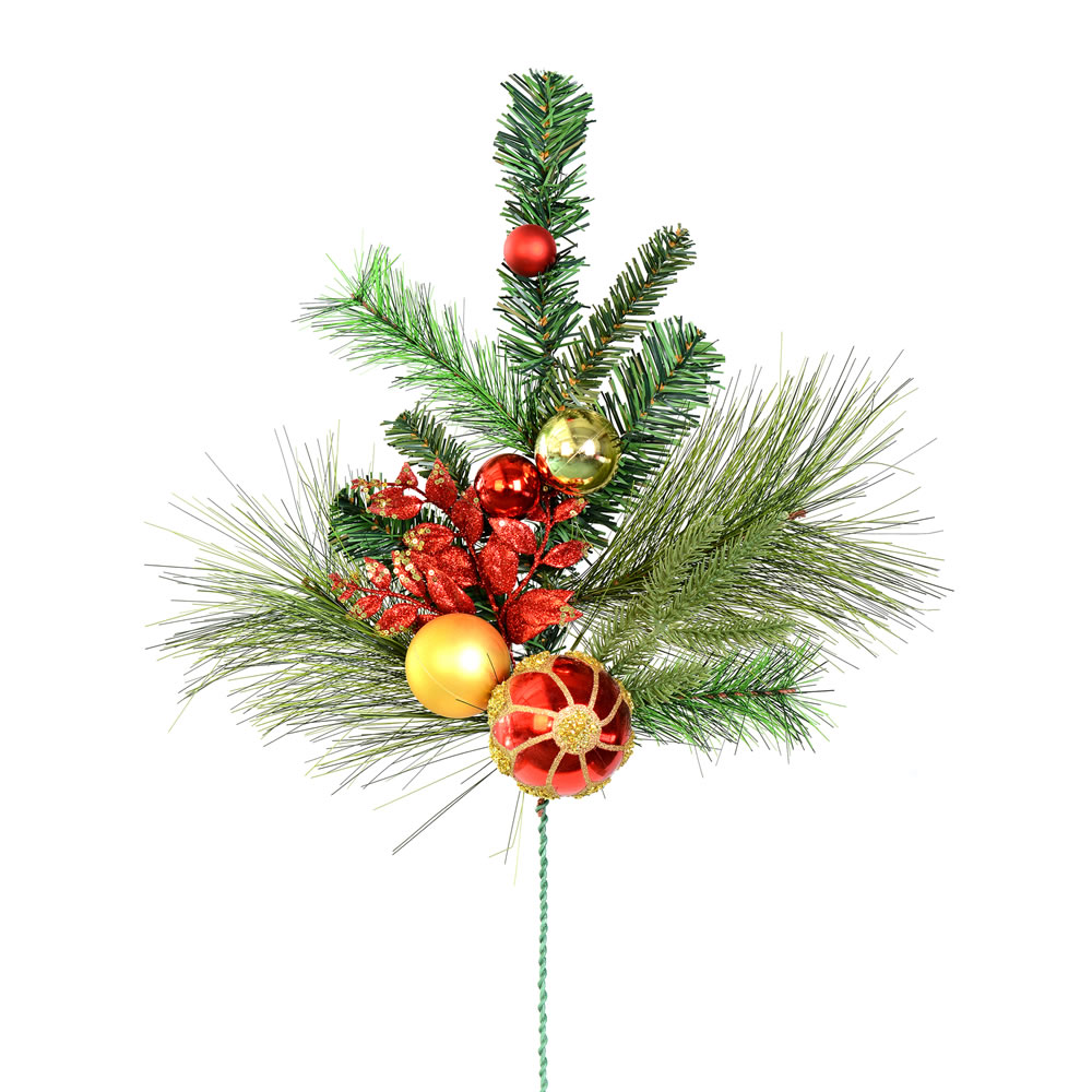 24 Inch Mixed Green Pine Red Gold Ornaments Decorative Artificial Christmas Spray