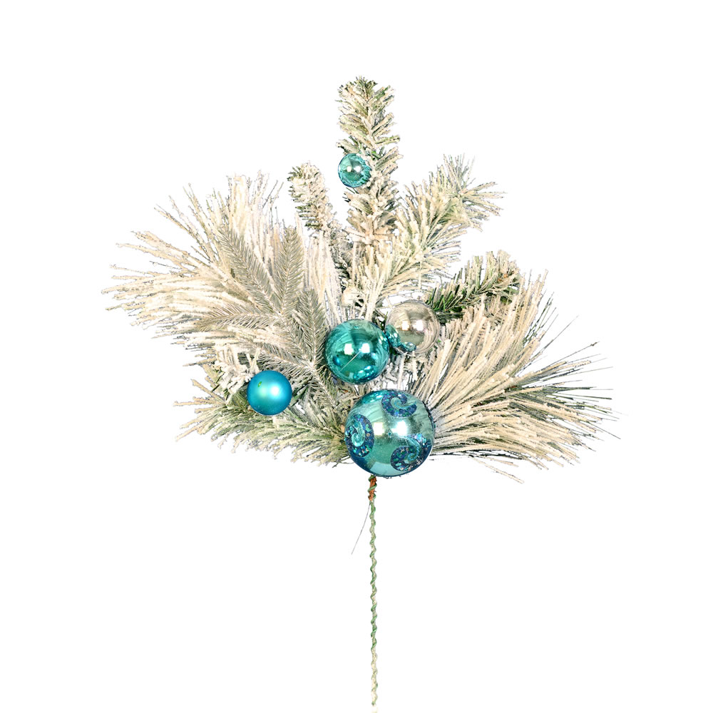 24 Inch Flocked Mixed Pine Blue Platinum Ornaments Decorative Artificial Christmas Spray