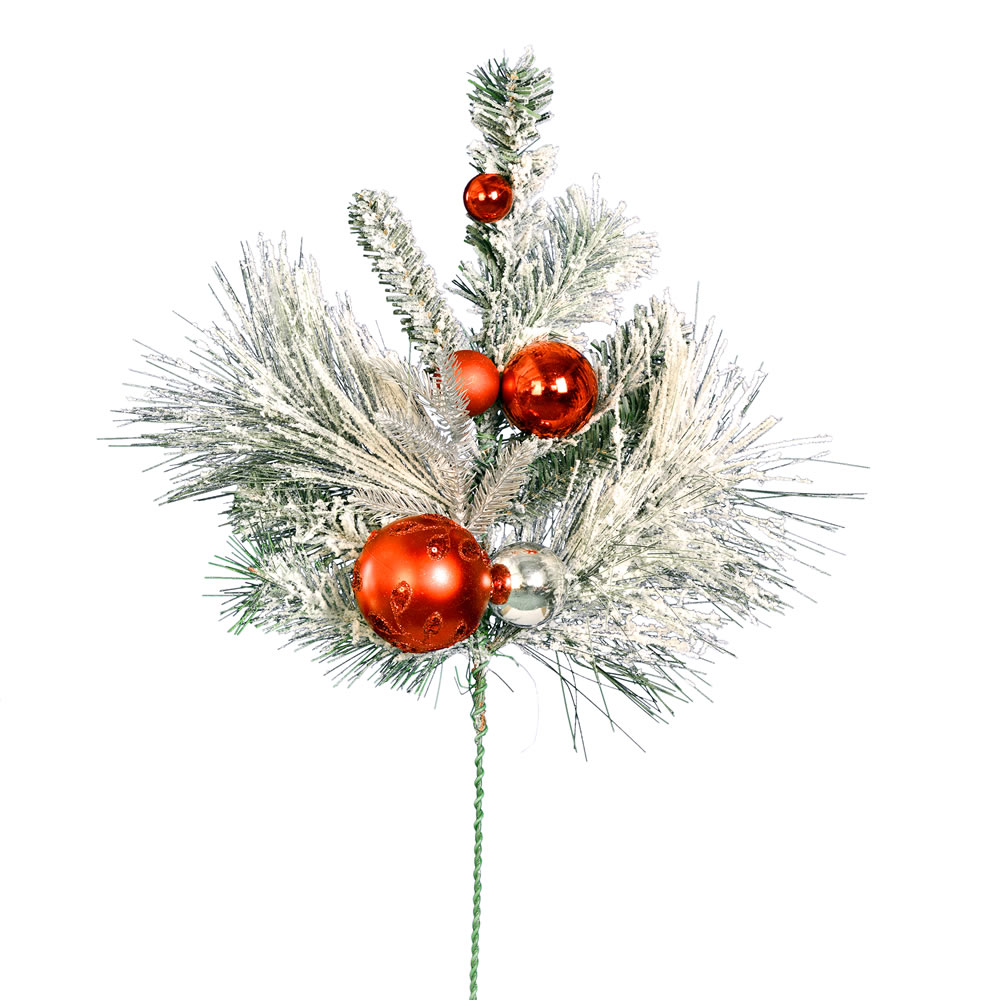 24 Inch Flocked Mixed Pine Red Silver Ornaments Decorative Artificial Christmas Spray