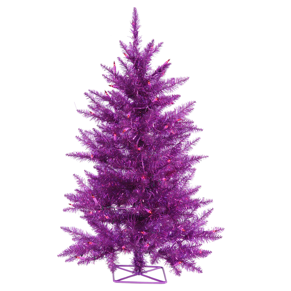 3 Foot Purple Artificial Halloween Tree 70 DuraLit Incandescent Purple Mini Lights