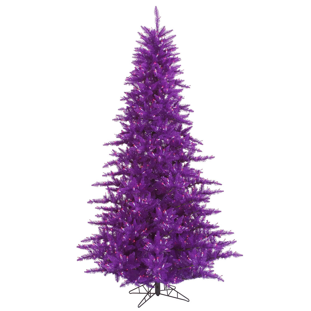 12 Foot Purple Artificial Halloween Tree 1650 Incandescent Purple Mini Lights