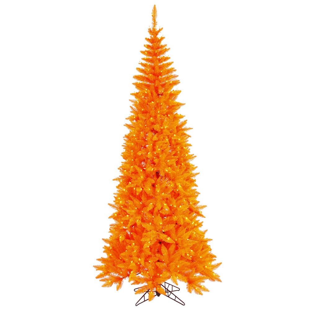 10 Foot Orange Fir Slim Artificial Halloween Tree 900 DuraLit LED M5 Italian Orange Mini Lights