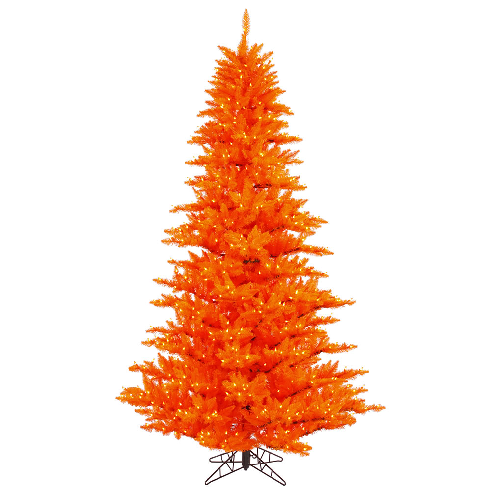 10 Foot Orange Fir Artificial Halloween Tree 1150 DuraLit LED M5 Italian Orange Mini Lights