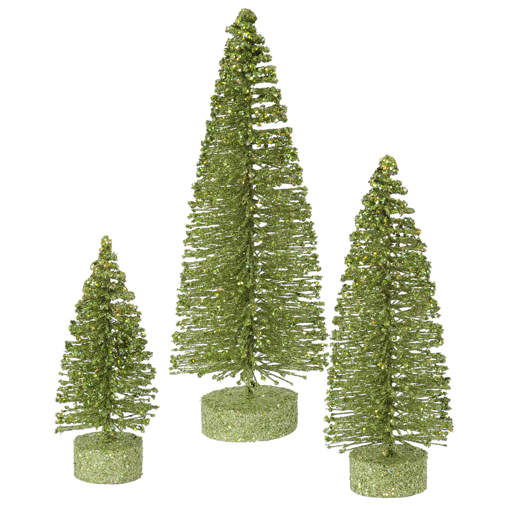 Lime Green Glitter Oval Pine Artificial Christmas Village Tree Small