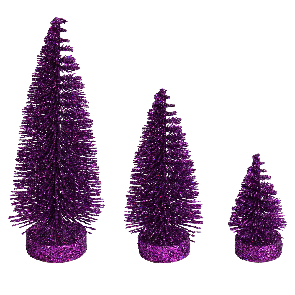 Plum Purple Glitter Oval Pine Artificial Christmas Village Tree Small