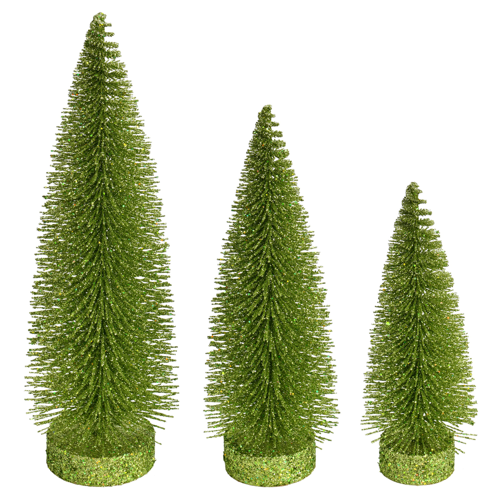 Lime Green Glitter Oval Pine Artificial Christmas Village Tree Medium