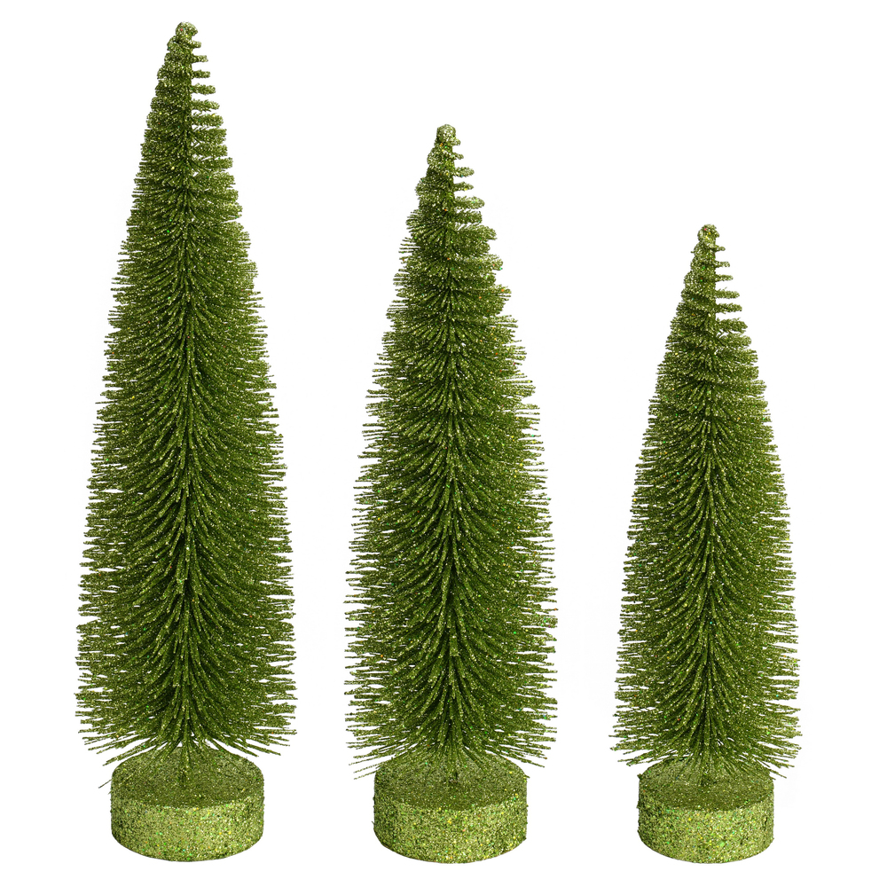 Lime Green Glitter Oval Pine Artificial Christmas Village Tree Large
