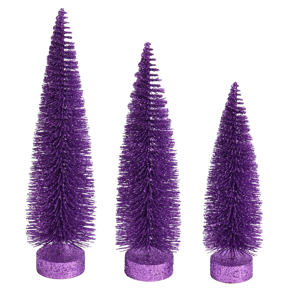 Lavender Purple Glitter Oval Pine Artificial Christmas Village Tree Large