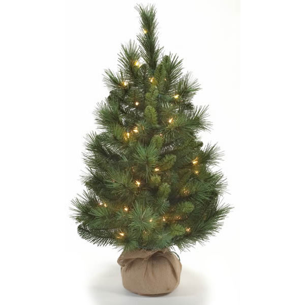 3 Foot Pine Artificial Christmas Potted Tree 50 Incandescent Clear Lights