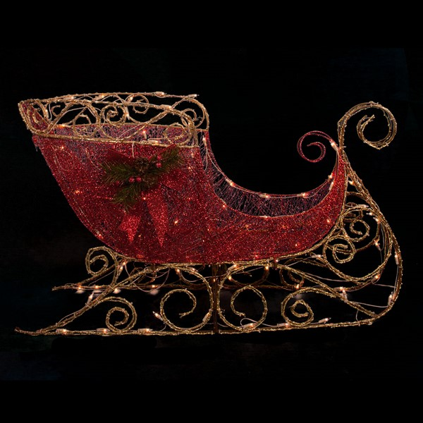 2 Foot Red Glitter Sleigh Christmas Decoration - 100 LED Lights