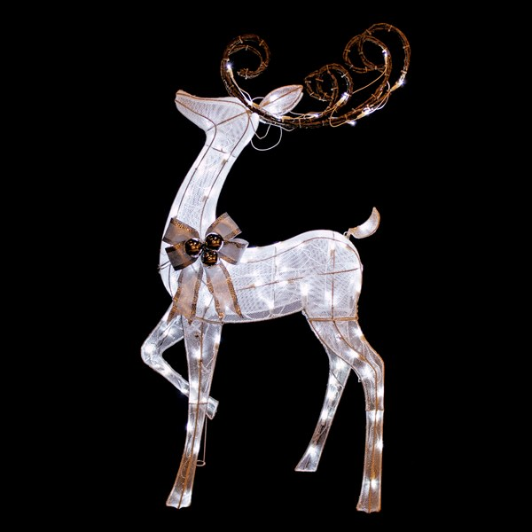 5 Foot White Mesh Fabric Deer Christmas Decoration - 120 LED Cool White Lights