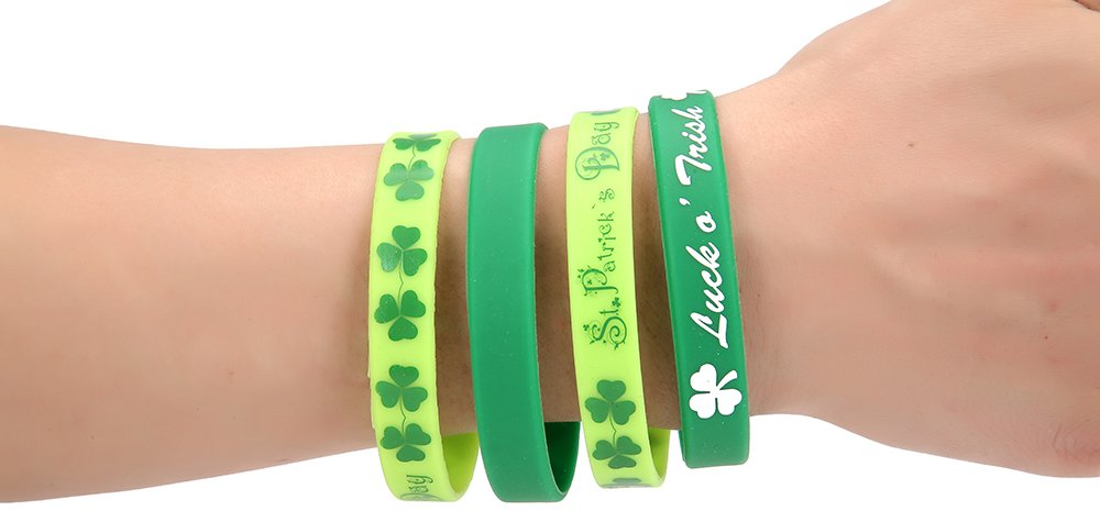 36 Piece St. Patricks Day Shamrock Rubber Wristband Party Favor Bracelets - 2 Bracelet Bulk Pack