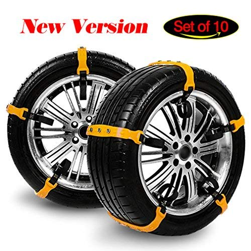 Emergency Tire Snow Chains with Adjustable Tension Straps - Set of 10