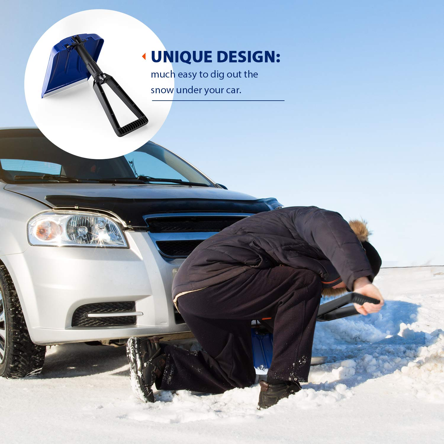 Emergency Folding Snow Shovel with D-Grip Handle & Durable Aluminum Edge Blade 2 Shovel Bulk Pack