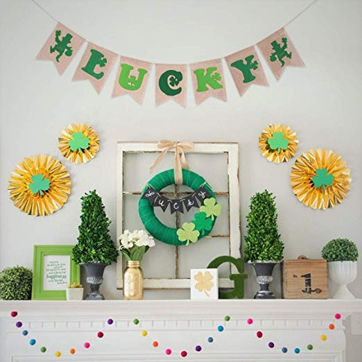 St. Patricks Irish Garland Three-leaved Shamrock Burlap Decoration Banner