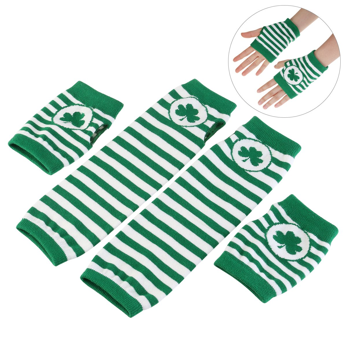 Unisex St. Patricks Day Shamrock Fingerless Gloves and Arm Warmers - 2 Glove Bulk Pack