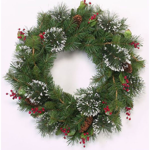 24 Inch Frosted Pine Artificial Christmas Wreath with Berries, Leaves and Pinecones