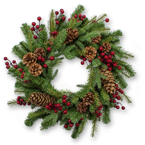 24 Inch Pine Artificial Christmas Wreath with Natural Pinecones and Berries