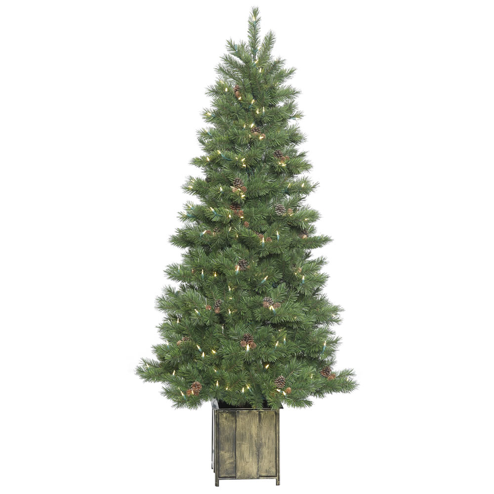 6 Foot Potted Newfield Fir Artificial Christmas Tree 300 Dura-Lit LED Warm White Mini Light