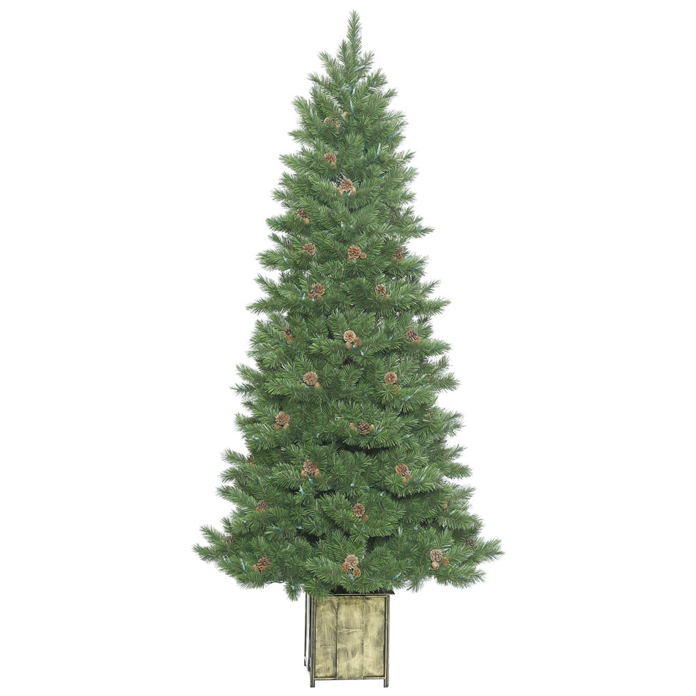 7 Foot Potted Newfield Fir Artificial Christmas Tree Instant Shape Unlit