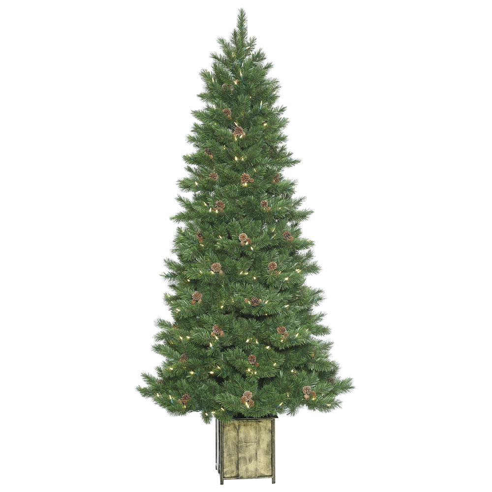 7 Foot Potted Newfield Fir Artificial Christmas Tree 400 Dura-Lit LED Warm White Mini Light