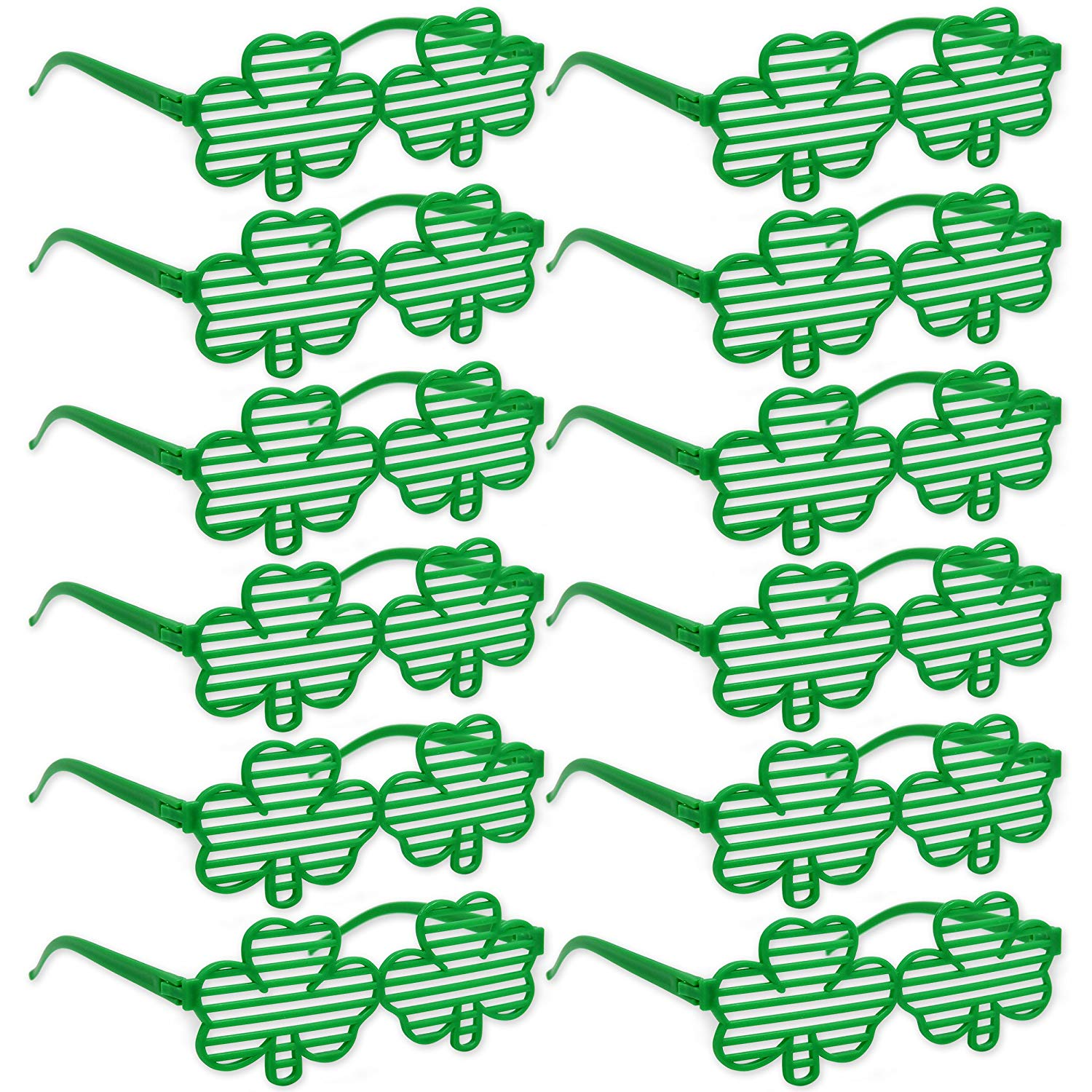 24 Piece St. Patricks Day Green Shamrock Clover Sunglasses - Shutter Shades