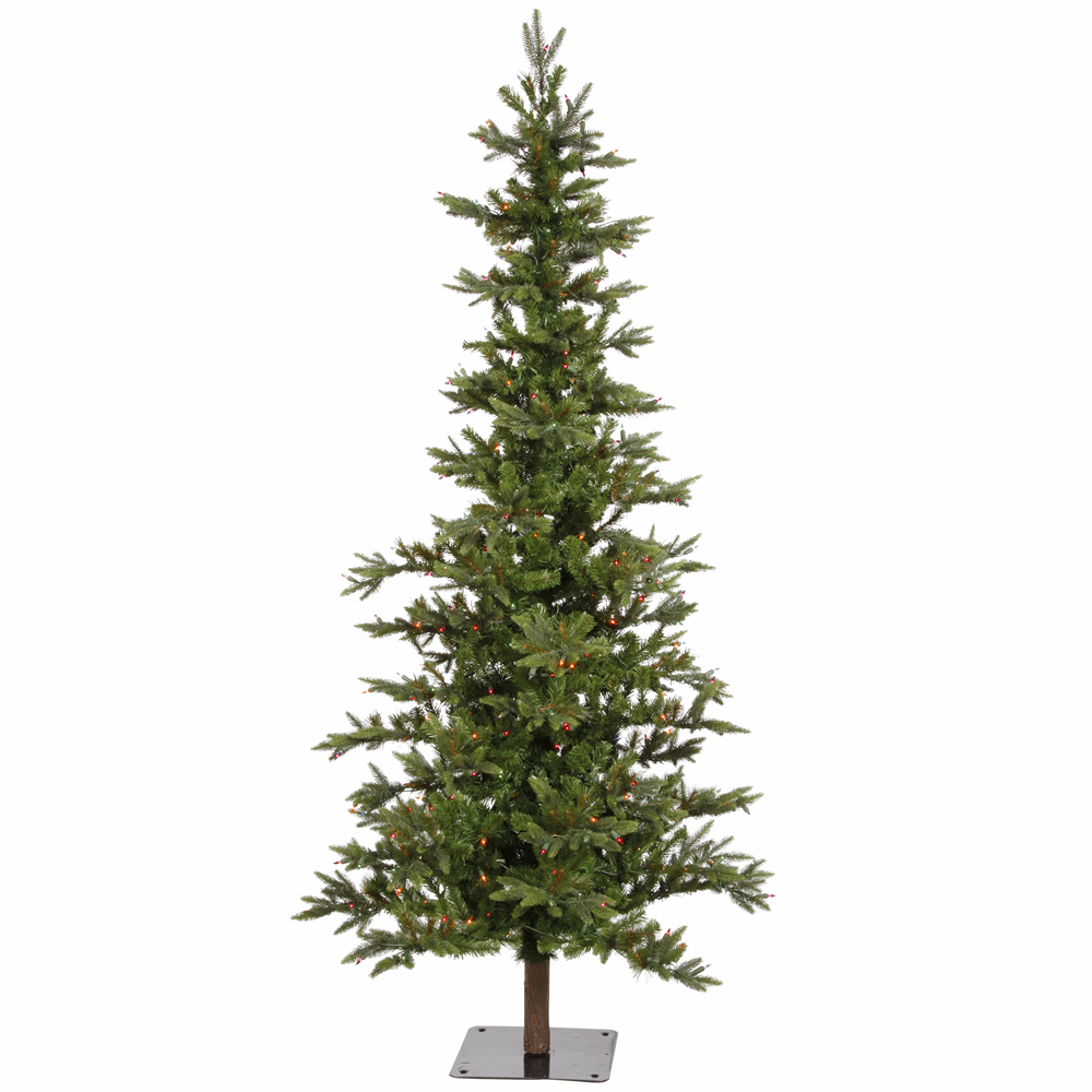 8 Foot Shawnee Fir Alpine Artificial Christmas Tree 450 DuraLit Incandescent Multi Color Mini Lights