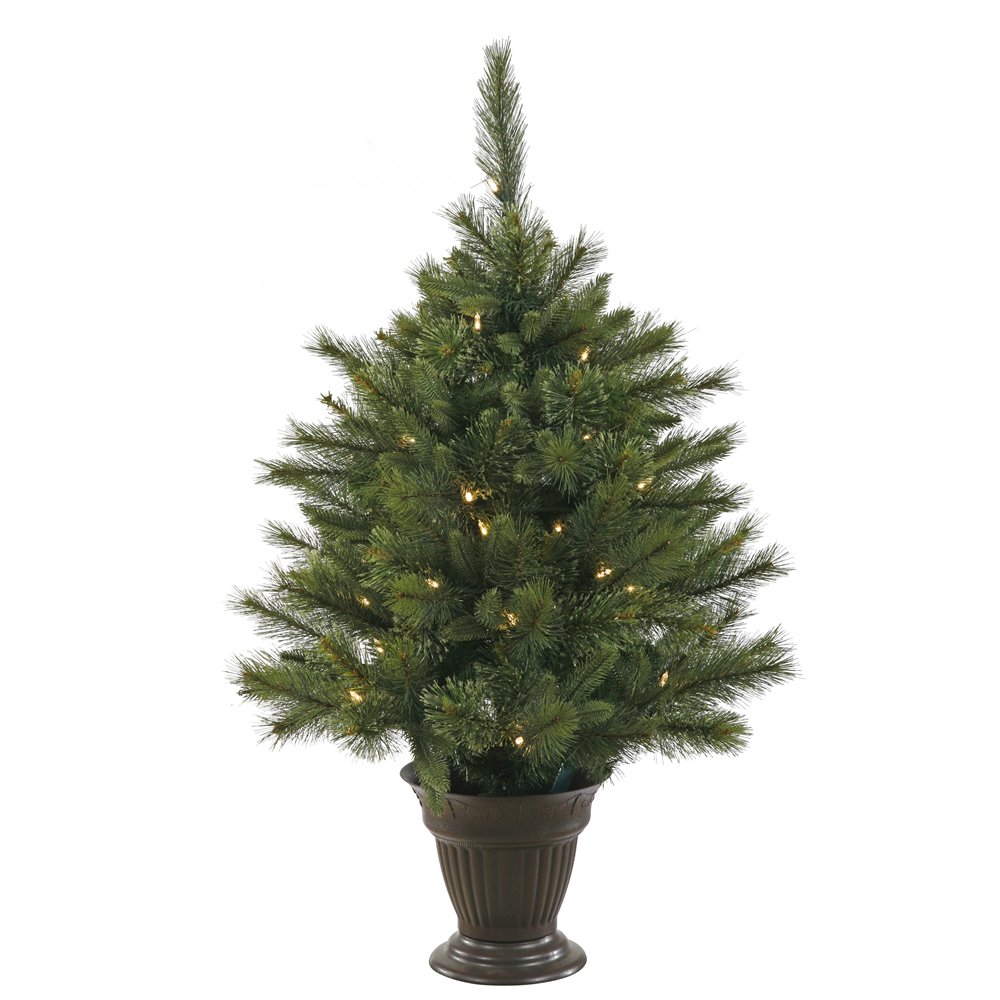 3.5 Foot Cashmere Pine Artificial Potted Christmas Tree 50 LED Warm White Italian Style Mini Lights