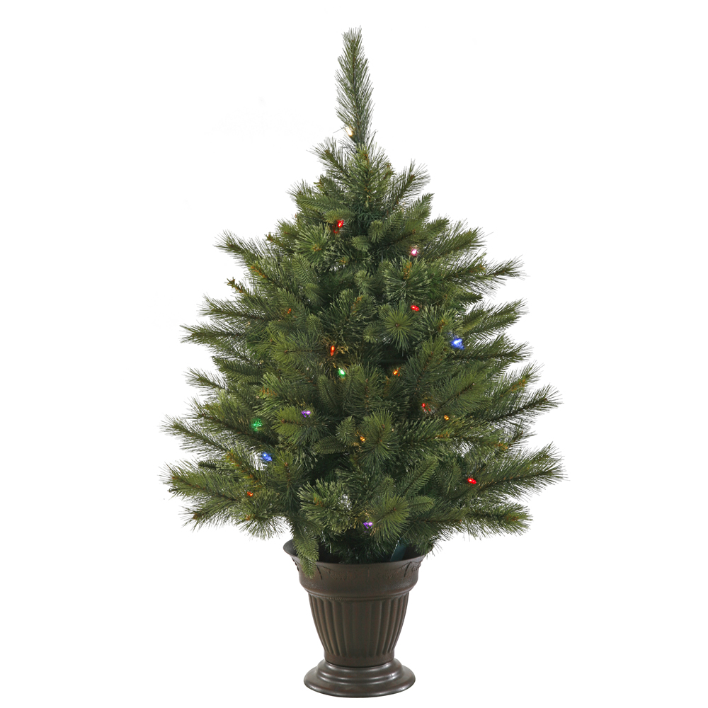 3.5 Foot Cashmere Pine Artificial Potted Christmas Tree 50 Battery Operated LED M5 Italian Multi Color Mini Lights
