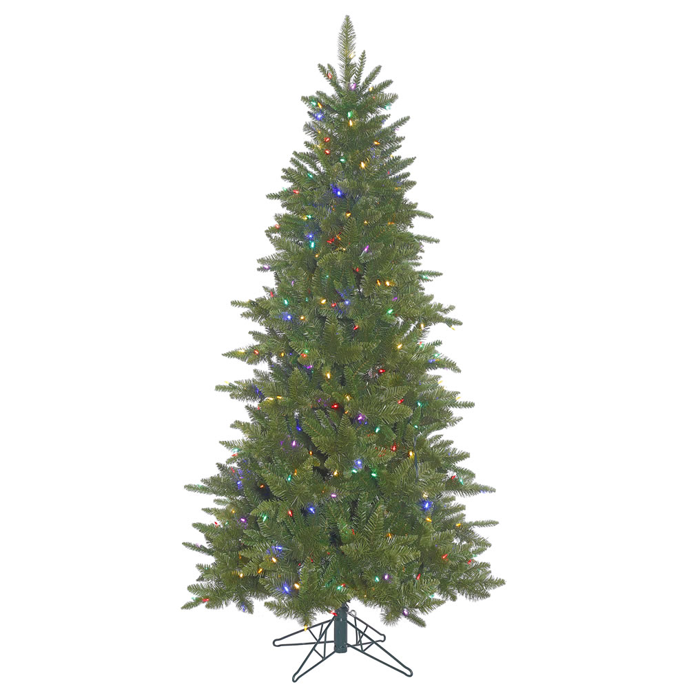 4.5 Foot Durango Spruce Slim Artificial Christmas Tree 250 DuraLit LED M5 Italian Multi Color Mini Lights