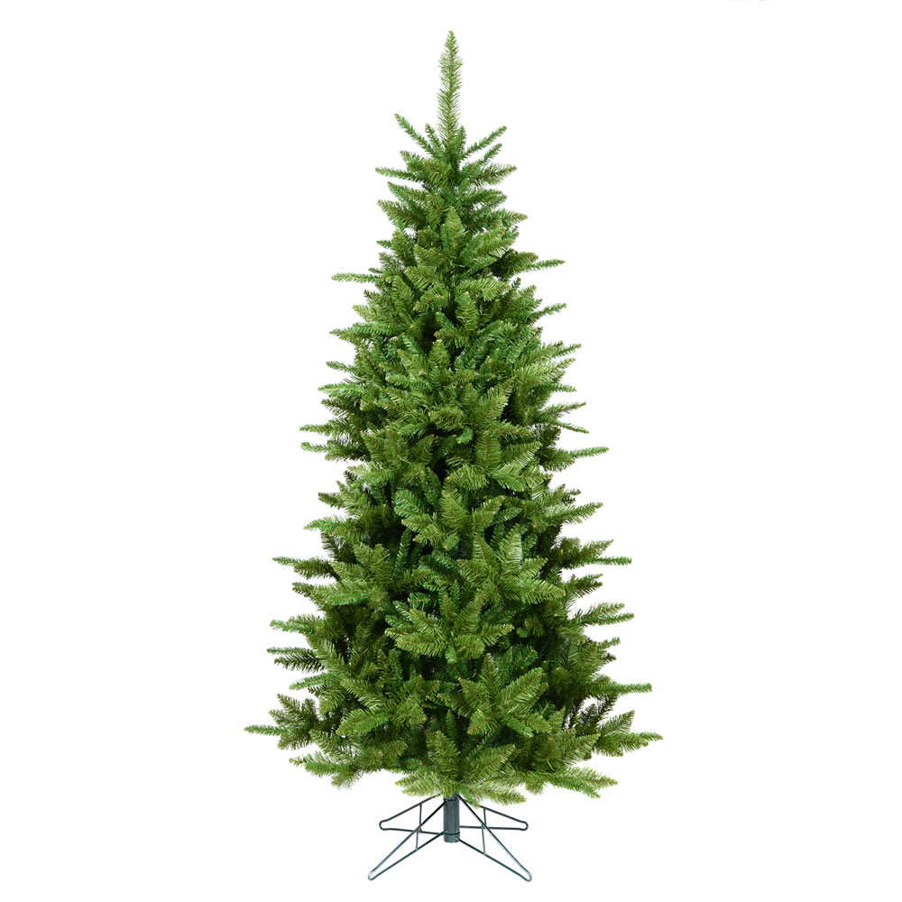 7.5 Foot Slim Durango Spruce Artificial Christmas Tree With Folding Metal Stand.
