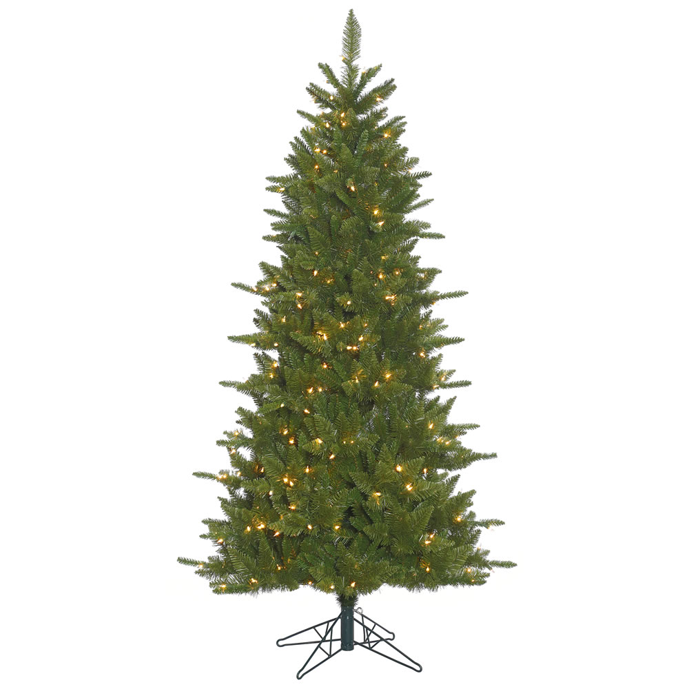 7.5 Foot Slim Durango Artificial Christmas Tree featuring 1438 PVC tips and 700 clear Dura-Lit lights.