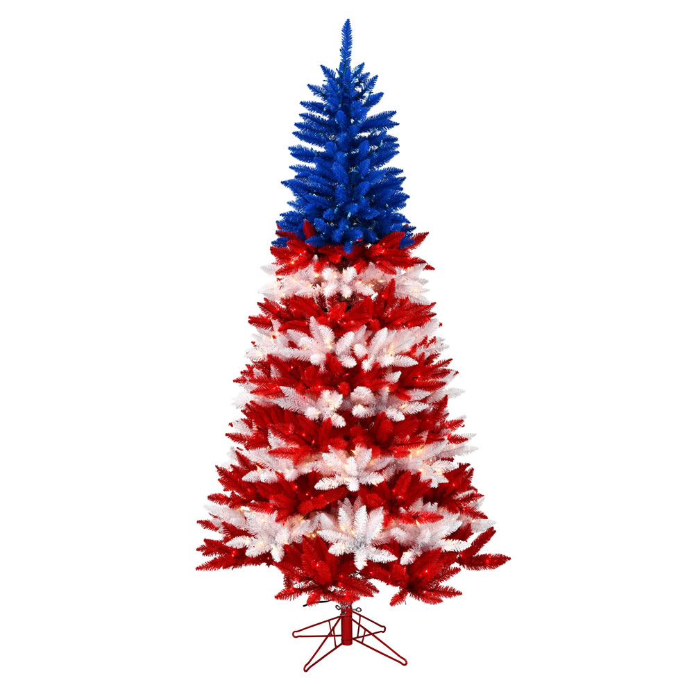 7.5 Foot Centennial Pine Patriotic Artificial Christmas Tree - 900 DuraLit Incandescent Red-Clear-Blue
