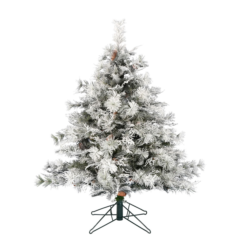 4.5 Foot Flocked Cheshire Artificial Christmas Tree Unlit