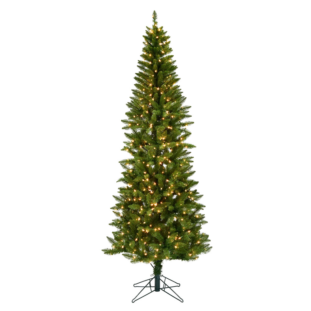 6.5 Foot Creswell Pine Pencil Artificial Christmas Tree - 350 DuraLit Incandescent Clear Mini Lights