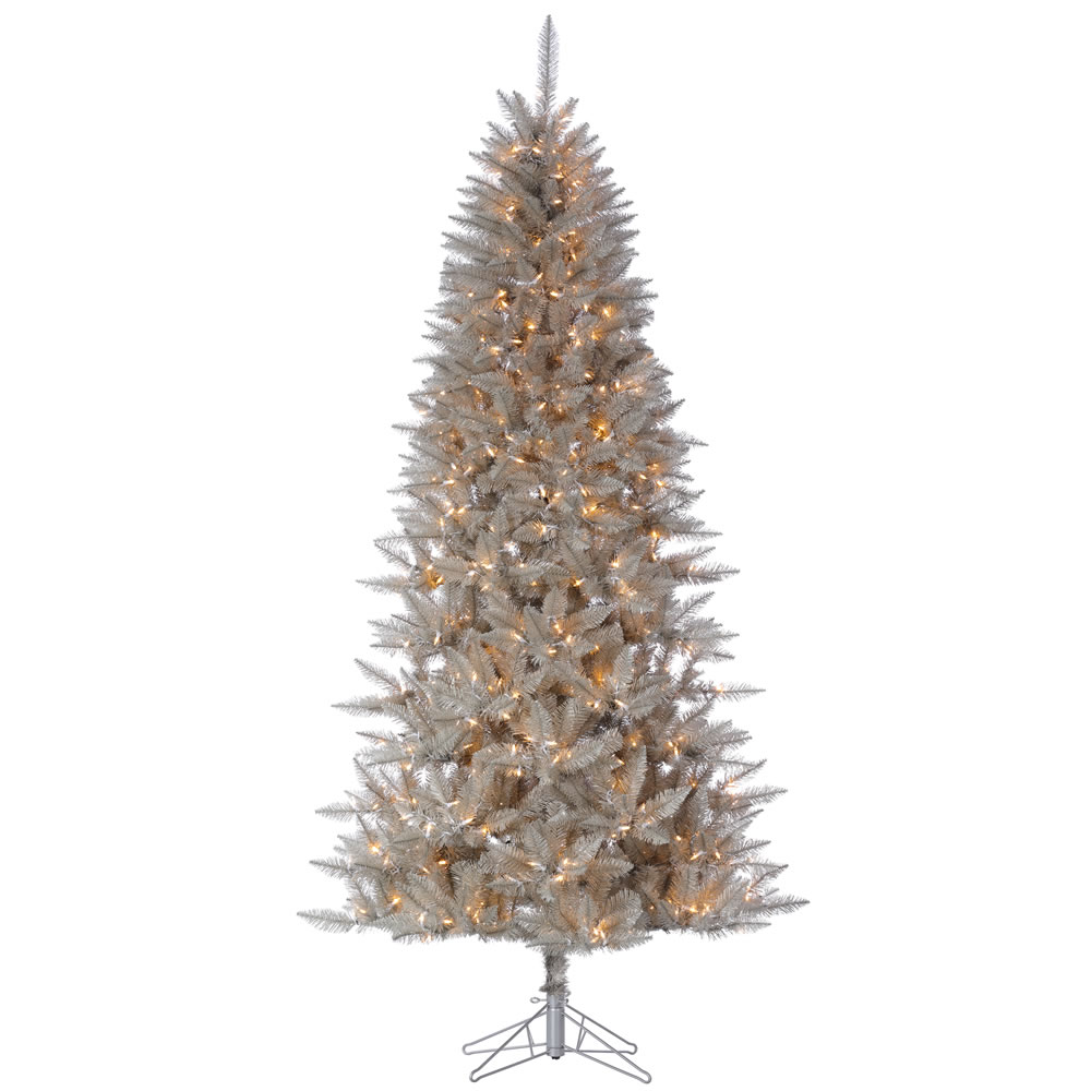 6.5 Foot Platinum Fir Pencil Artificial Christmas Tree - 500 DuraLit LED Warm White Mini Lights