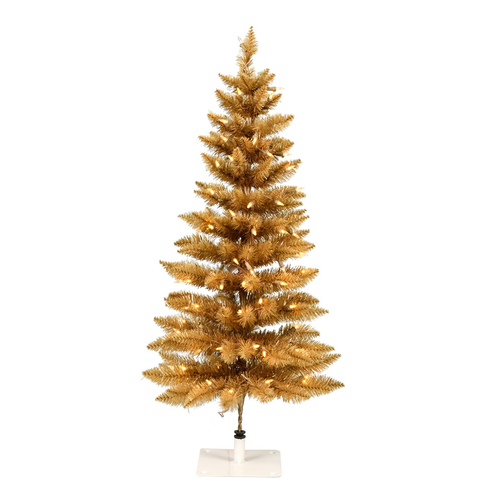 3 Foot Gold Pencil Fir Artificial Christmas Tree - 100 DuraLit LED Warm White Mini Lights