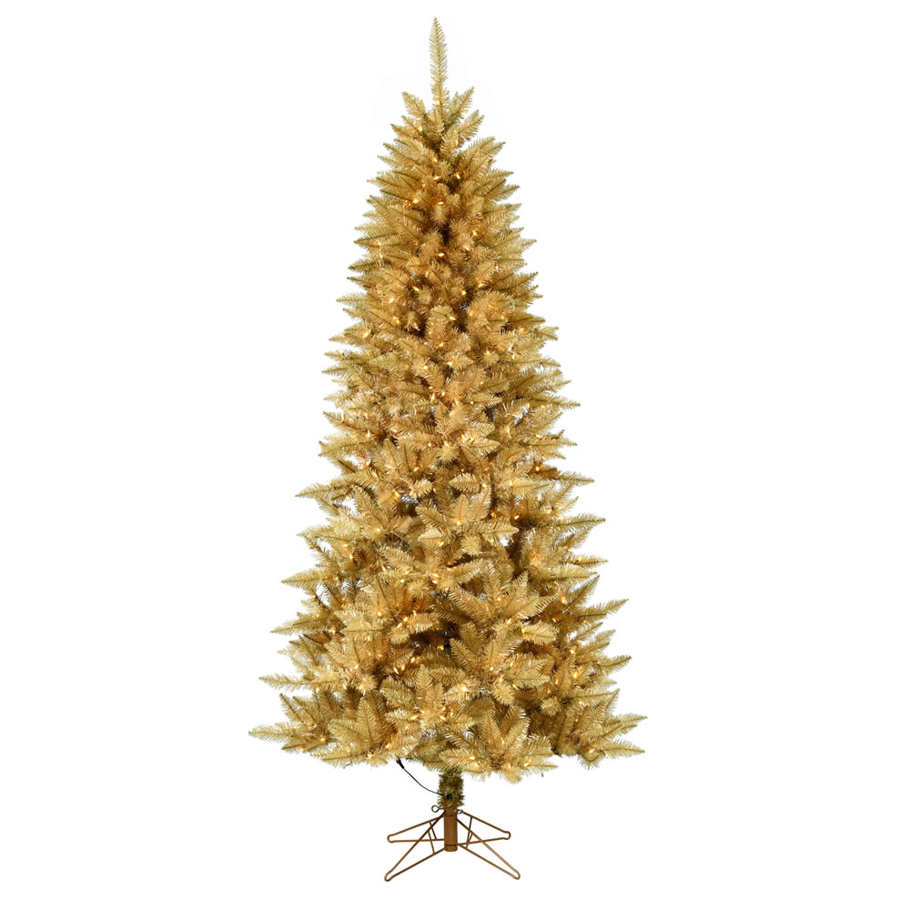 4.5 Foot Gold Pencil Fir Artificial Christmas Tree - 250 DuraLit LED Warm White Mini Lights