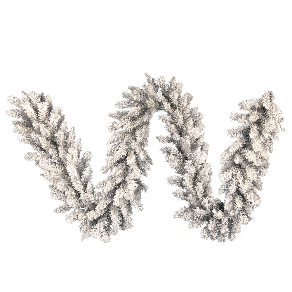 9 Foot Frosted Silver Artificial Christmas Garland Unlit