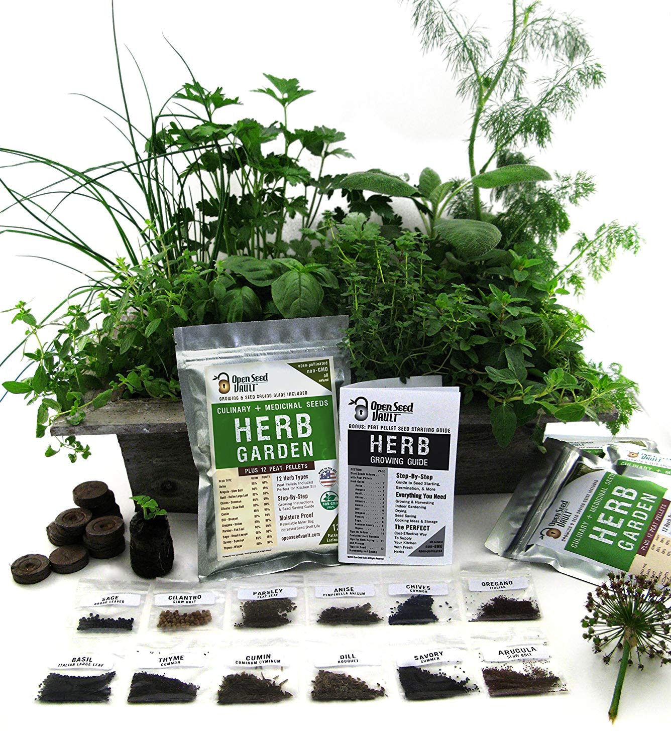 100% NON-GMO Heirloom Culinary and Medicial Herb Kit