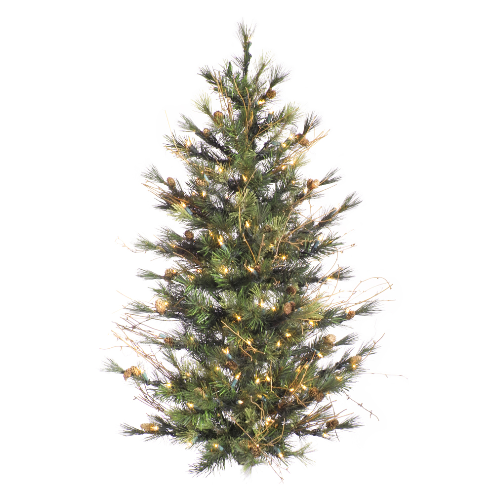 4 Foot Mixed Country Pine Artificial Christmas Wall Tree 150 DuraLit Incandescent Clear Mini Lights