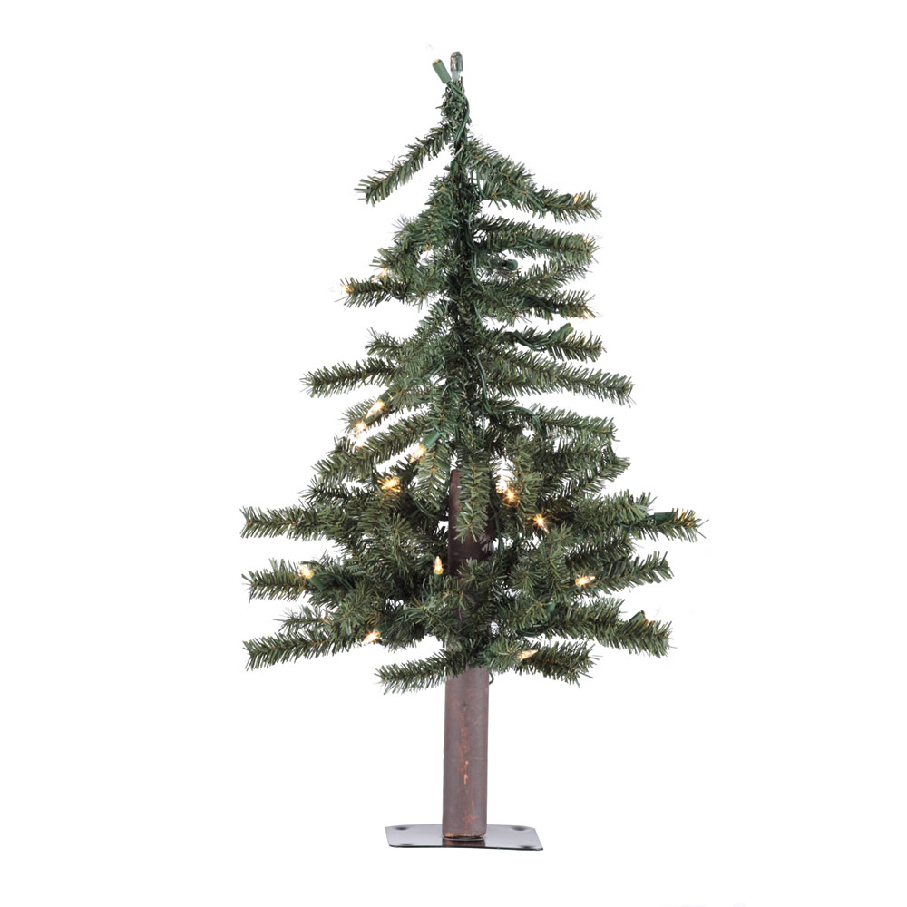 2 Foot Natural Alpine Artificial Christmas Tree - 50 DuraLit LED Warm White Mini Lights