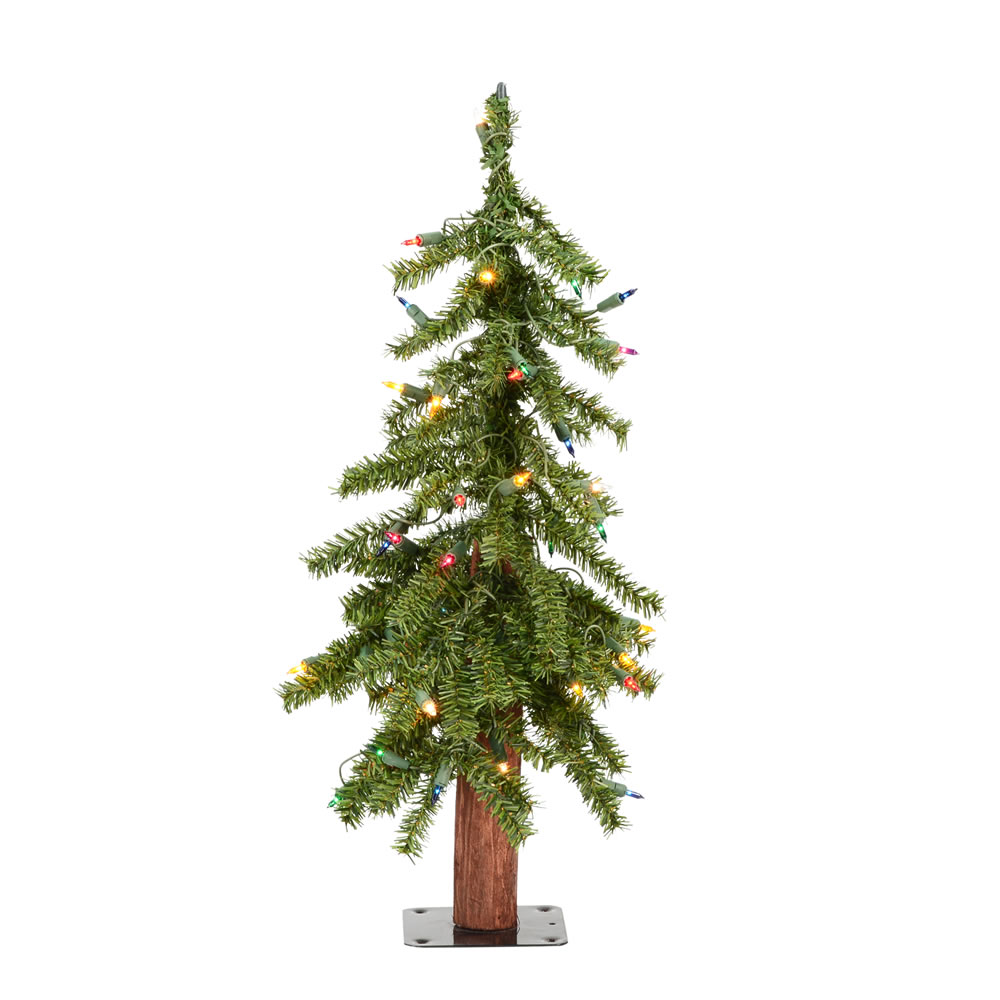2 Foot Natural Alpine Artificial Christmas Tree - 50 DuraLit LED Multi Color Mini Lights