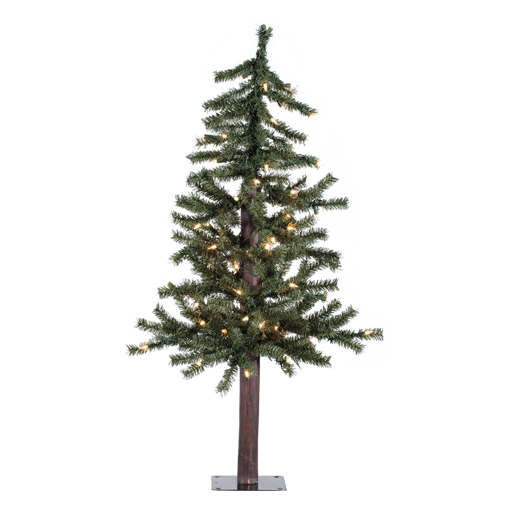 3 Foot Natural Alpine Artificial Christmas Tree - 50 DuraLit LED Warm White Mini Lights