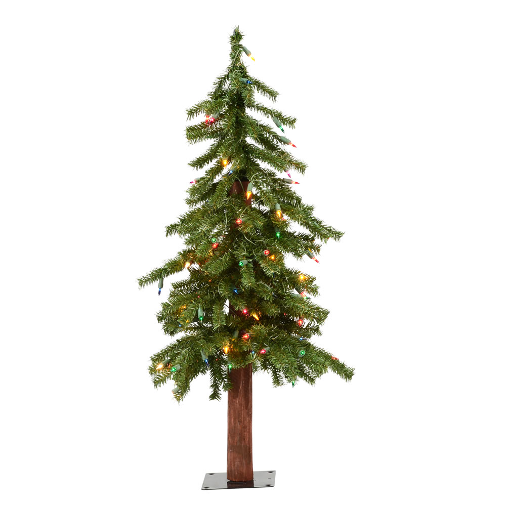 3 Foot Natural Alpine Artificial Christmas Tree - 50 DuraLit LED Multi-Colored Mini Lights